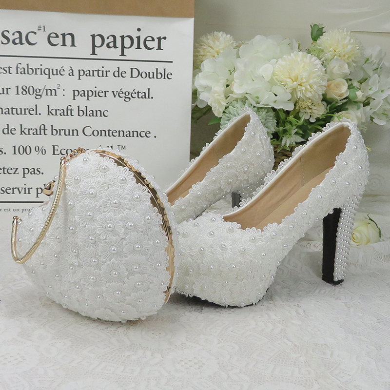 BaoYaFang White Royal Blue Flower Wedding shoes and bags sets Ladies Platform shoes woman High heel shoes Thick Heel heart purse