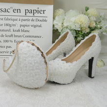 High-Heel Shoes Bags-Sets Heart-Purse Royal-Blue White Woman Ladies And Flower Baoyafang