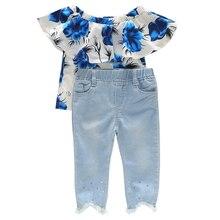 Toddler Girls Blur Floral Off the Shoulder Top Light Blue Jeans with Crystal Beads Kids Summer Clothes light grey off the shoulder top