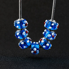 10pcs a lot 3D Flower Crystal Blue Glass Beads Fit For Pandora Charms Bracelet Big Hole Bead DIY European Murano jewelry making dropshipping 2020 new fashion silver beads bracelet blue flower floral crystal charms bracelet