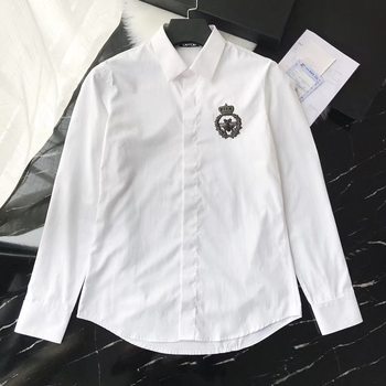 DUYOU Mens Cotton Shirt Men Dress Shirt Men Collar Embroidery Animal Crown High Quality Slim Fit Casual Shirts DY2271