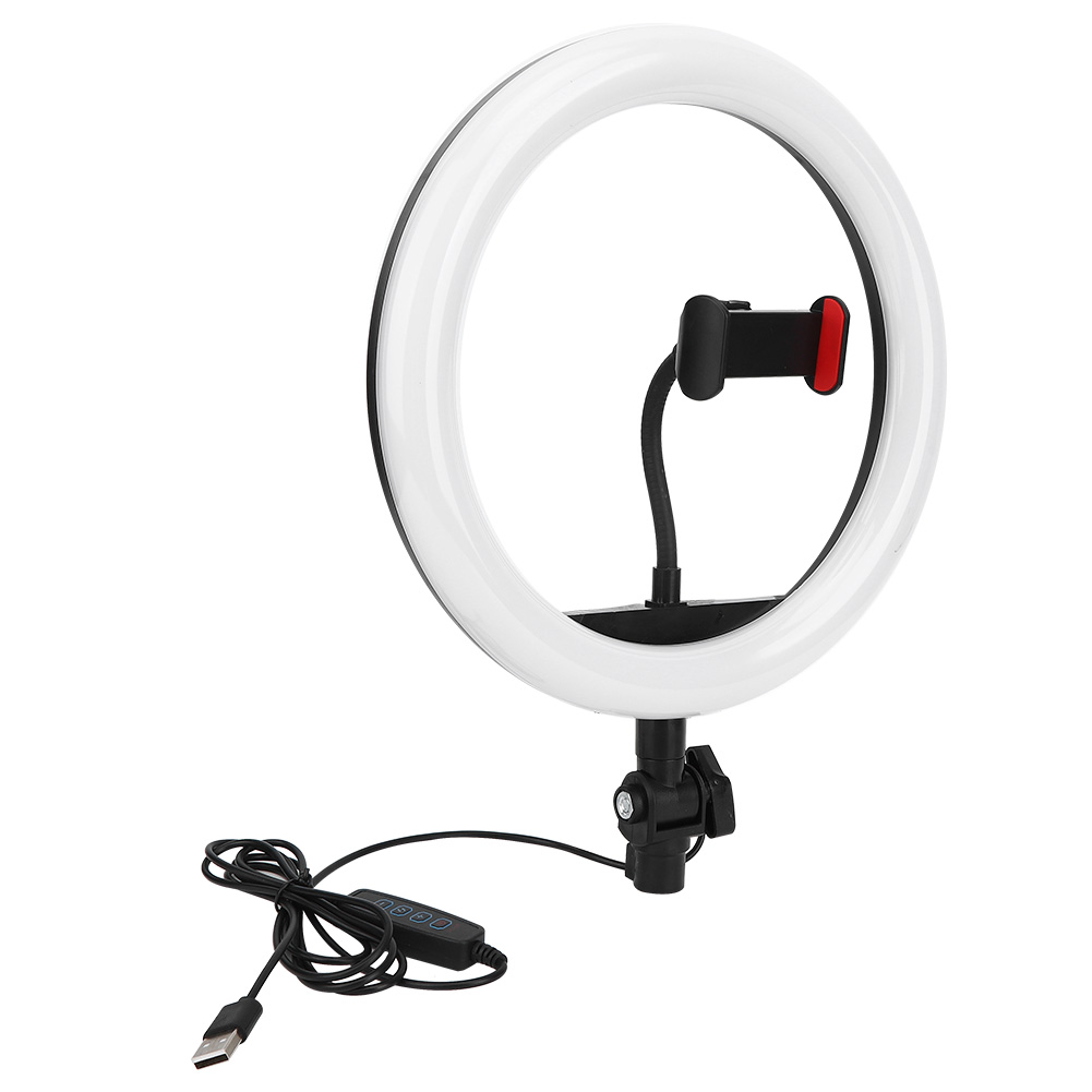 10inch Live LED Annular Light Mobile Phone Flashes Selfie Photography Lamp Fill Light with Phone Clip Equipment for IOS Android
