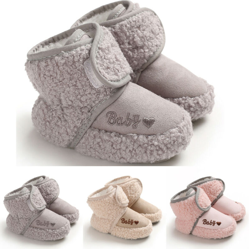 Toddler Baby Kids Girls Boys Booties Crib Shoes Newborn Infant Keep Warm Boots