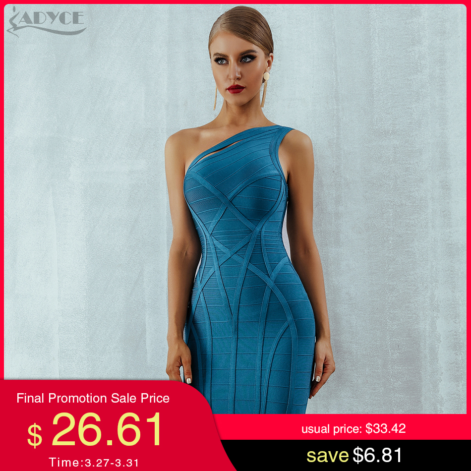 Adyce One Shoulder Summer Women Bodycon Bandage Dress Vestidos 2020 New Arrive Hollow Out Runway Celebrity Runway Party Dresses