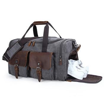 Large Capacity Men's Messenger Travel Bag with Shoe Bag Canvas Leather Duffle Bag Travel Luggage Bags Big Weekend Bag Hand Bag