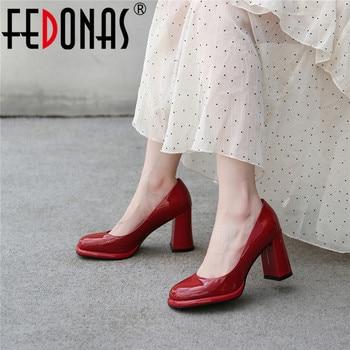 FEDONAS Red Genuine Leather Sandals Women 2020 Fashion Platforms Thick High Heels Pumps Women Summer Wedding Working Shoes Woman
