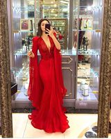 Sexy Deep V Neck Mermaid Prom Dress Red With Sleeves Tulle Plus Size Formal Evening Dresses Long Special Occasion Party Gowns