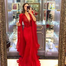 Sexy Deep V Neck Mermaid Prom Dress Red With Sleeves Tulle P