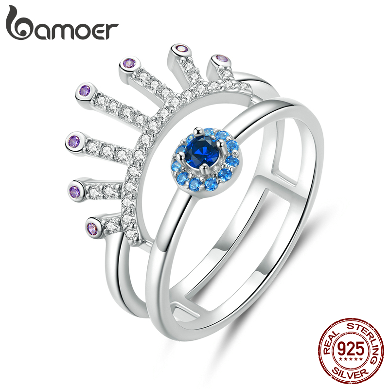 Bamoer 925 Silver Jewelry Double Layers Blue Eye With Eyelash Finger Rings For Women Fashion Cocktail Party Bague BSR102