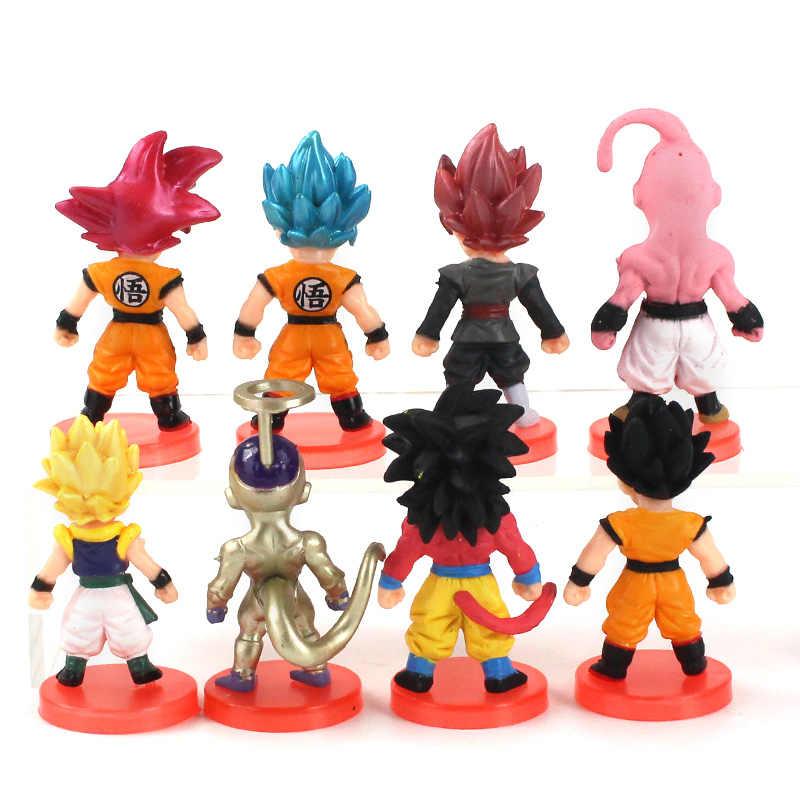 8 sztuk/partia figurki z dragon ball z czarnym Goku Son Gohan Vegeta Gogeta Buu Frieza Zamasu Anime DBZ zabawki modele