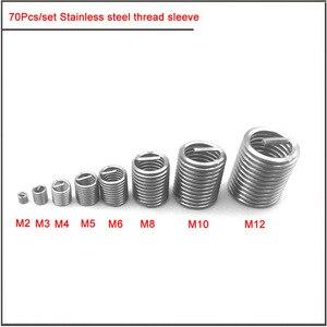Image 2 - 70 adet gümüş M2 M12 paslanmaz çelik iplik kol diş tamir takma takımı seti paslanmaz çelik donanım tamir araçları