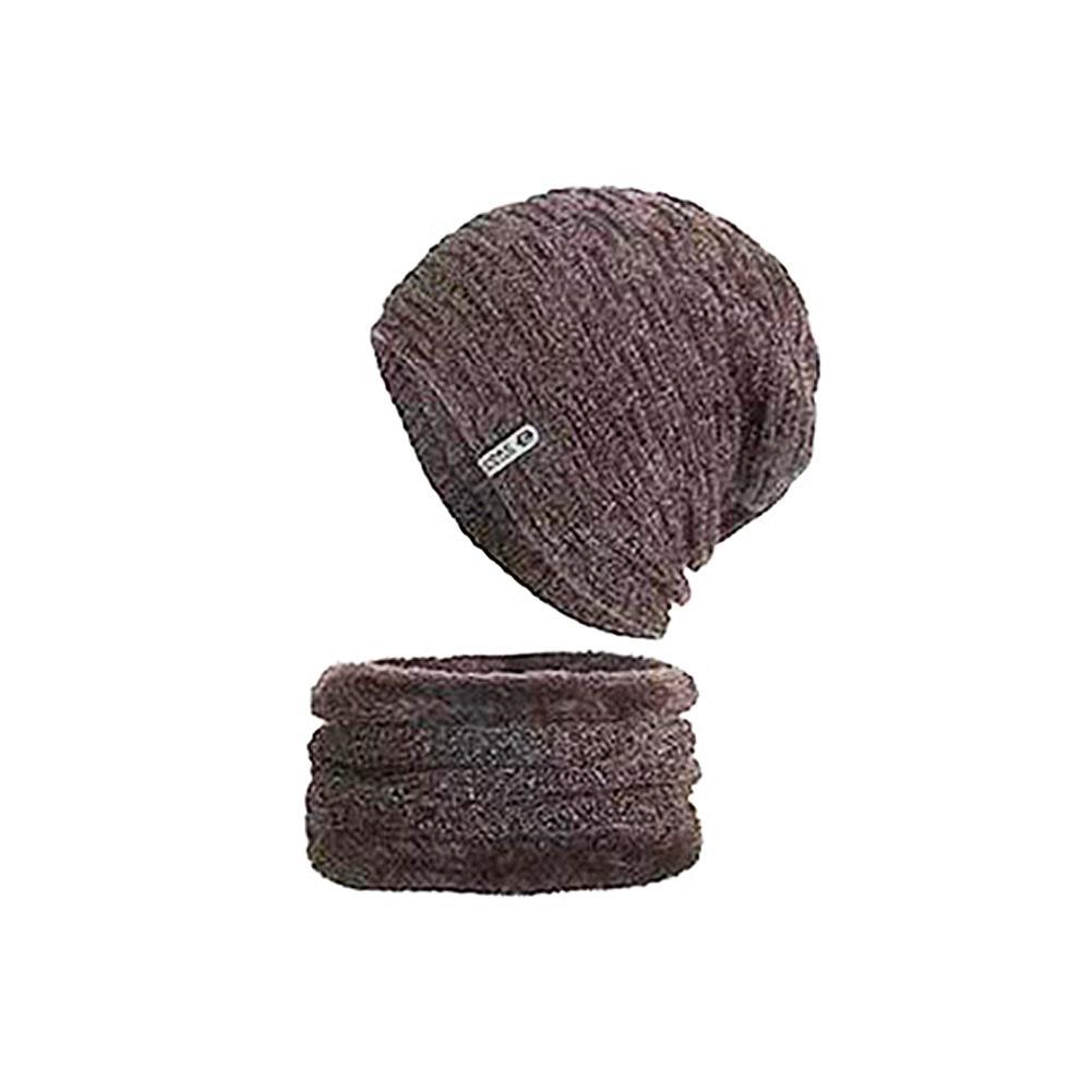 Men Women Winter Men Knitted Hat With Neck Scarf Thick Woolen Hat Autumn Unisex Knit Hat Set Winter Warm Scarf