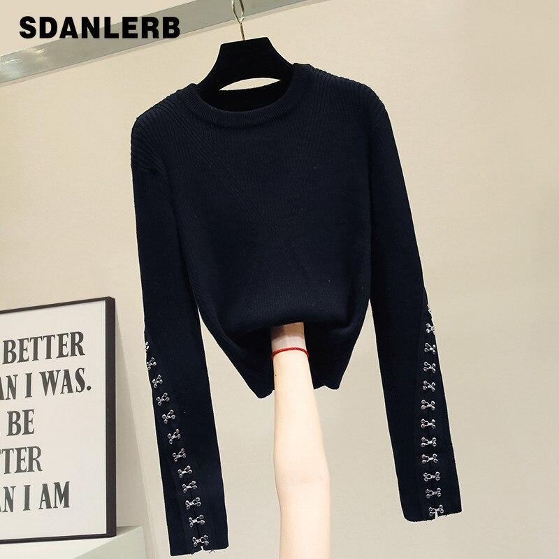 Automne nouvelle mode court noir chandail à manches longues tricot chemise personnalité bouton corps Pull dames Slim Pull hauts Pull