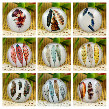 New Fashion 5pcs/Lot 25mm Handmade Photo Glass Cabochons Big Feather (Feather series)
