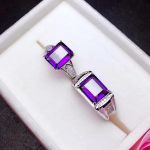 Image 3 - Naturale ametista anello di coppia. Il vero 925 anello Dargento degli uomini. Semplice e squisito. Negoziante consiglia