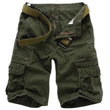 Pantalones Cortos de algodón de los hombres Pantalones Cortos de carga ejército verde táctico Casual suelto Homme las Bermudas Pantalones Cortos Hombre NO cinturones 29-40 Pantalones Cortos Hombre