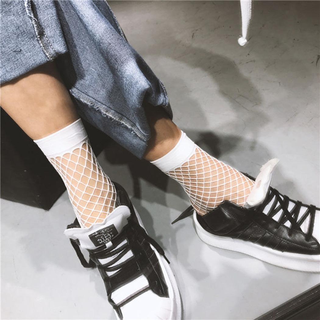 Womens Transparent Socks Black White Fishnet Socks 2019 Summer Fashion Elasticity Ankle Thin Women Socks Sheer Hosiery