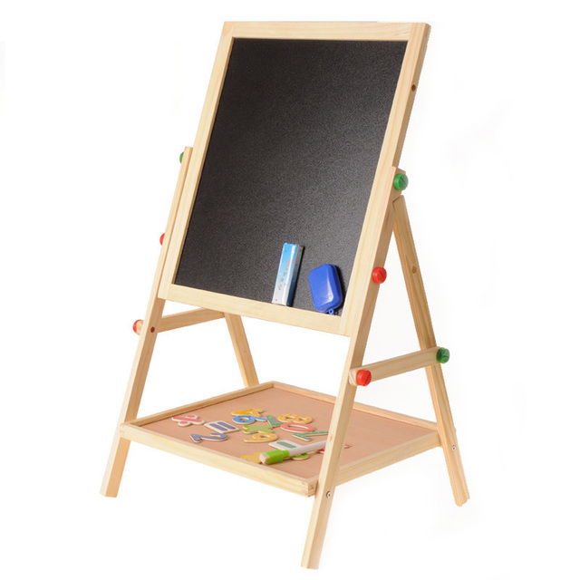 Wooden Drawing Blackboard Whiteboard Double Sided Adjustable Easel Painting Toy Early Education Learning Toys For Children