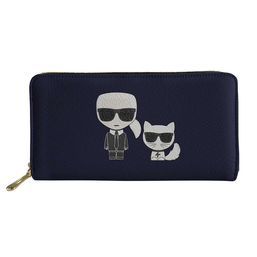 HaoYun Women's PU Wallets&Purses Karl Lagerfelds Pattern Girls Long Wallets Kawaii Animal Female Fashion Coin Pockets Bags
