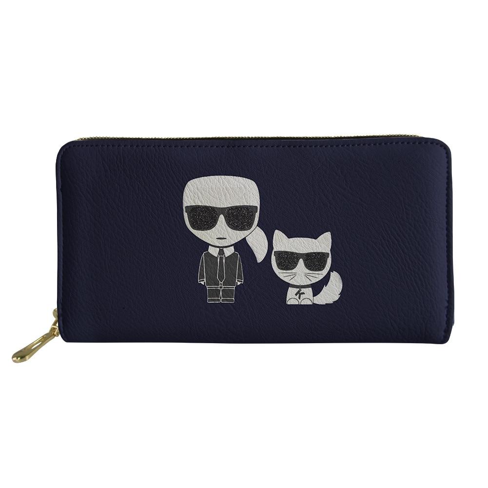 HaoYun Women's PU Wallets&Purses Karl Lagerfelds Pattern Girls Long Wallets Kawaii Animal Female Fashion Coin Pockets Bags
