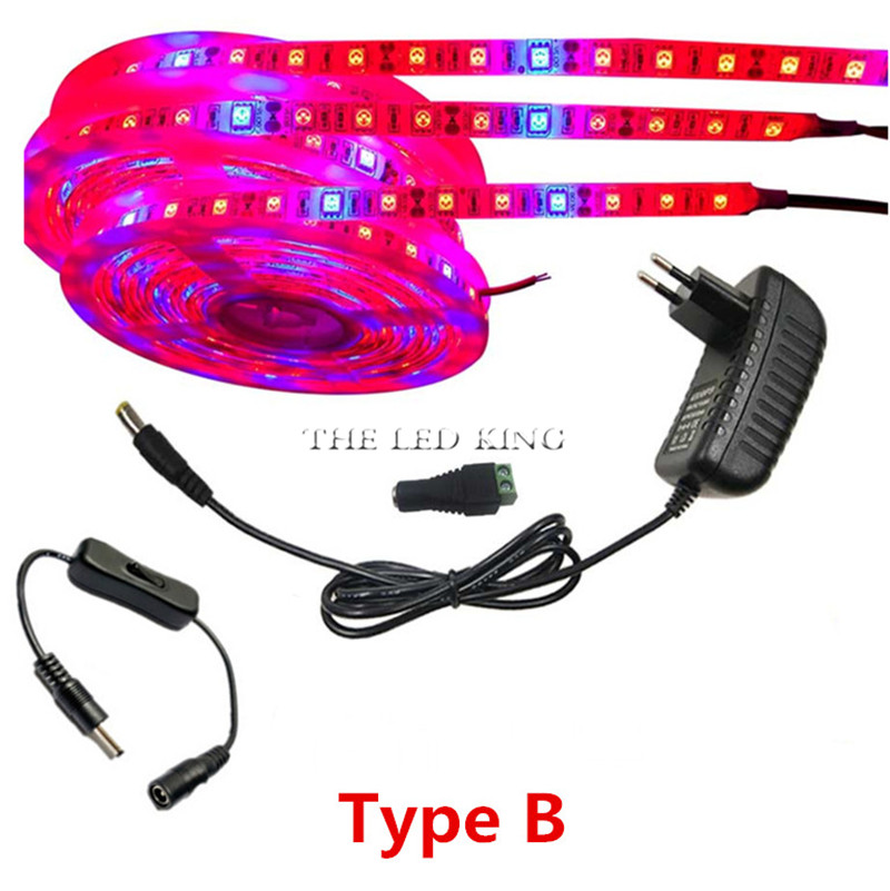 5M LED Phyto Lamps Full Spectrum LED Strip Light 300 LEDs 5050 Chip LED Fitolampy Grow Lights For Greenhouse Hydroponic plant(China)