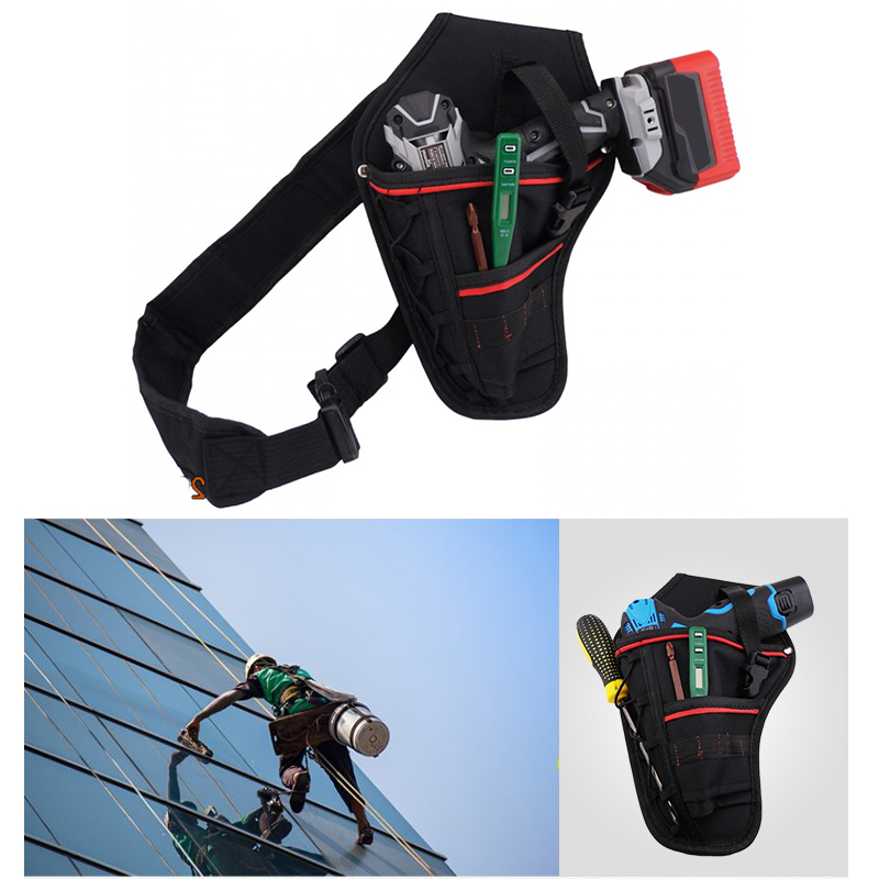 1PCs Multi-functional Waterproof Oxford Drill Waist Tool Bag Electric Waist Belt Tool Pouch Bag For Wrench Hammer Screwdriver