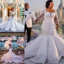 Güney afrika Mermaid düğün elbisesi dantel aplikler artı boyutu Sheer uzun kollu gelinlikler saten Sweep tren vestidos