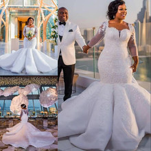 South African Mermaid Wedding Dress Lace Appliques PLUSขนาดSHEERแขนยาวชุดเจ้าสาวซาตินกวาดรถไฟvestidos