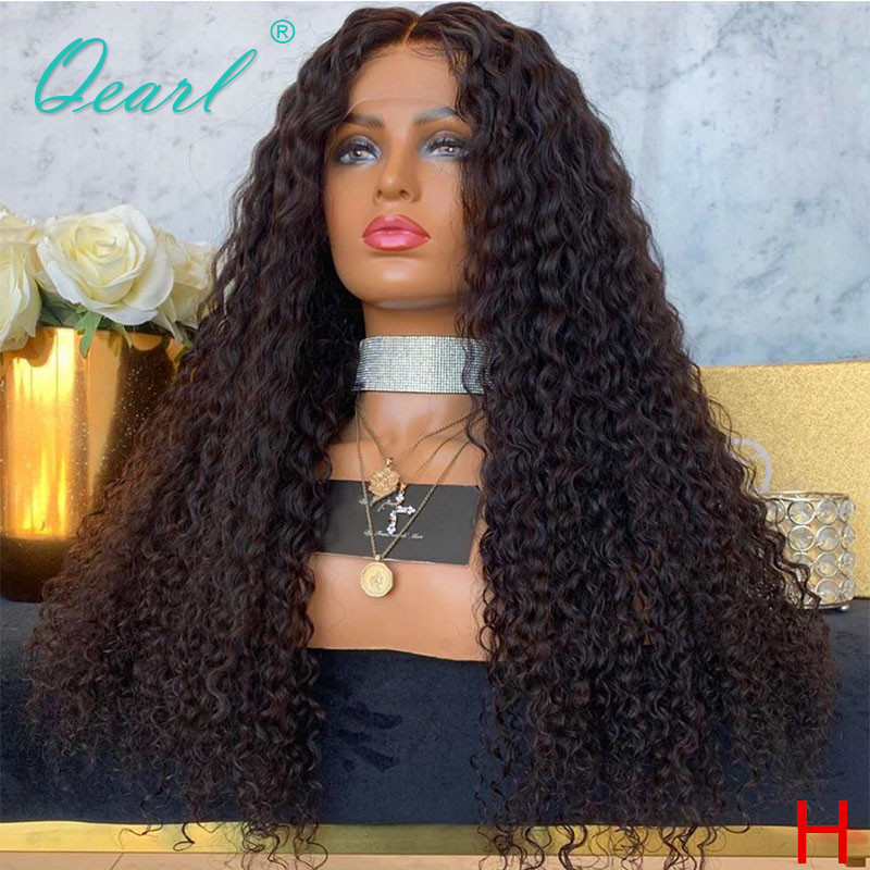 Human Hair 360 <font><b>Lace</b></font> Frontal <font><b>Wig</b></font> 250% <font><b>300</b></font>% <font><b>Density</b></font> Kinky Curly Black Color Brazilian Remy Hair Deep Middle Part Preplucked Qearl image