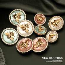 6pcs Retro Rhinestones Diamond Decor Metal Gold BEE Pink Blue Pearl Buttons for Clothing Coat Cardigan Sweater Sew Needlework