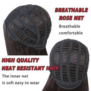 Image 4 - Pageup波状ヘアかつら女性のための前髪耐熱黒青ブロンドピンクグリーングレー合成かつら