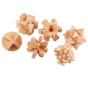 Burr Game-Toy Lock Puzzles Brain-Teaser Wooden Kids 3D for Adults Nine-Link Kong Ming