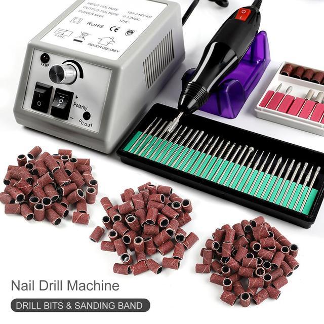 מניקור מכונת סט 300pc מלטש להקות תרגיל מסמר קרמיקה ג ל לק מסיר כרסום חותך עבור מניקור עבור UV ג ל כלים