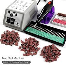 Manucure Machine ensemble 300pc bandes de ponçage perceuse à ongles en céramique Gel vernis à ongles dissolvant fraise pour manucure pour UV Gel outils