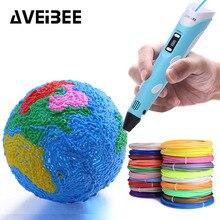 3d caneta original diy 3 d impressão caneta, com 100m 20 cores pla filamento abs plástico criativo brinquedo presente para crianças design desenho
