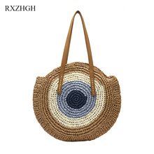 Womens Round Straw Beach Bag Vintage Handmade Woven Shoulder Raffia circle Rattan bag Bohemian Summer Vacation bags for 2019