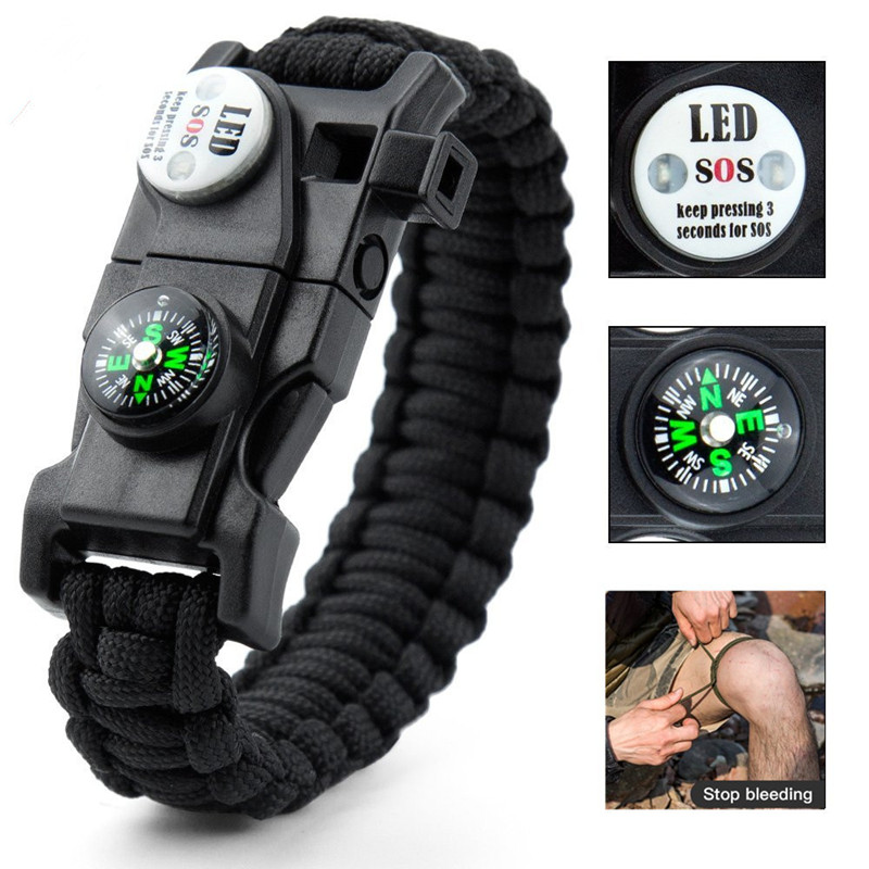 Outdoor SOS LED Light Survival Bracelet Paracord Braided Rope Men Women Camping EDC Tool Emergency Compass Whistle(China)