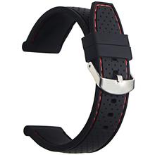Silikonowy pasek do zegarków 22mm zegarek z branzoletką akcesoria pasek gumowa bransoletka pas wodoodporny 2019 wysokiej jakości tanie tanio UYRBKS CN (pochodzenie) 21cm Nowy bez tagów rfvc Buckle