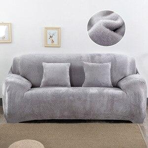 Image 2 - Housse de canapé en peluche Stretch couleur unie épaisse housse de canapé pour salon animaux de compagnie chaise housse housse de coussin canapé serviette 1PC