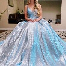 Prom-Dress Glitter Modest Long-Light Cross-Backless Blue Women for Robe-De-Soiree