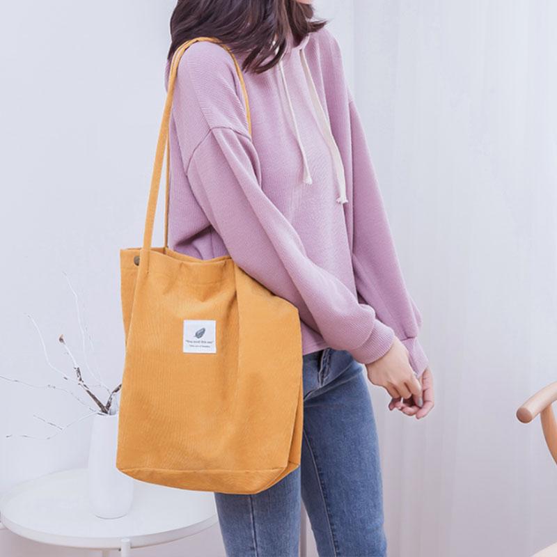 Women Solid Corduroy Shoulder Bags Shopping Bag Tote Package Crossbody Bags Purses Casual Handbag For Women Bookbag