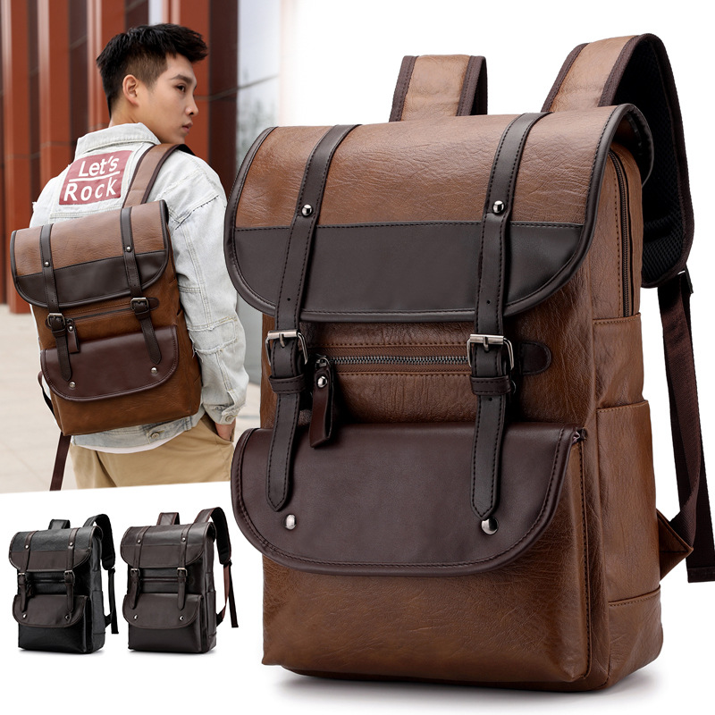 PU Leather Backpack Fashion Vintage Unisex Student Bagpack Laptop 15.6 Notebook Teenager Waterproof Bag Pack Women Men Male Bags