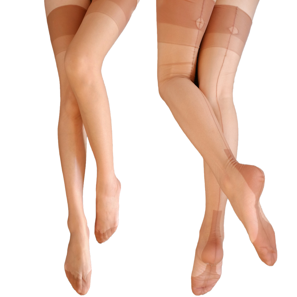 Eye Cut Women Sexy Stockings Retro Back Line Seamed Thigh High Stockings 8D Ultra Thin Transparent Nylon Pantyhose Party Hosiery
