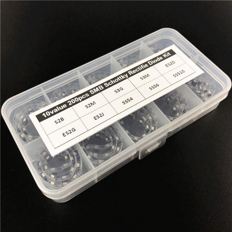 s3g diode - 10Values x20 200pcs DO-214AA S2B S2M S3G S3M ES2D ES2G ES2J SS54 SS56 SS510 SMB Schottky Rectifie Diode Kit