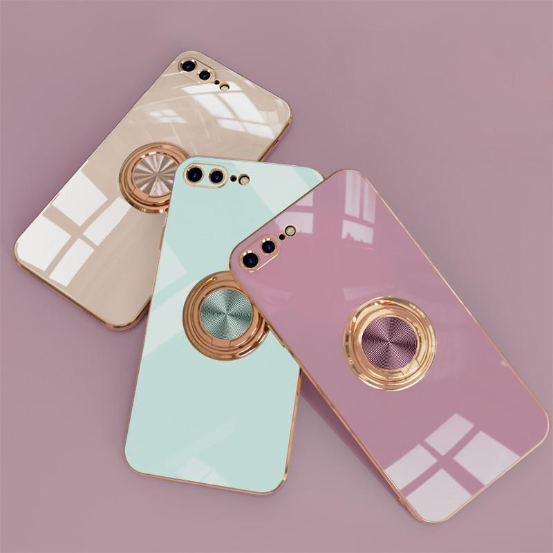 Plating Zachte Siliconen Case Voor Iphone 12 11 Pro Max Xs Mini Xr X S 7 8 Plus IPhone11 Telefoon magnetische Cover Met Ring Houder Stand 6