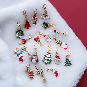 19Pcs/Set New Enamel Christmas Decoration Keychains Tree Bell Snowman Alloy Lobster Buckle Clasp Charms Key Chains Jewelry