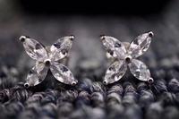 NE340 Glitter Earring 925 Sterling Silver Zirconia stone Female Engagement Jewelry