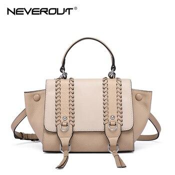 NEVEROUT Genuine Leather Shoulder Bag Luxury Handbags Women Bags Designer Crossbody Bags for Women 2019 Ladies Small Bag Tote