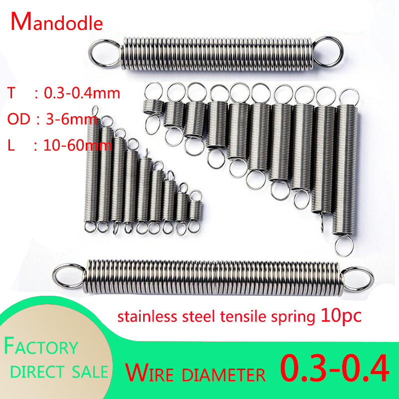10Pcs 304 Stainless Steel Dual Hook Small Tension Spring Hardware Accessories Wire Dia 0.3-0.4mm Stretching Sprin Length 10-60mm