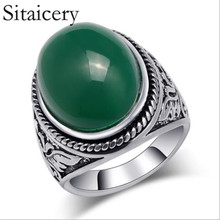 цены Sitaicery Retro Style Oval Stone Rings Men's Ring Tin Alloy Silver Plated Wedding Vintage Ring Fashion Jewelry Factory Wholesale